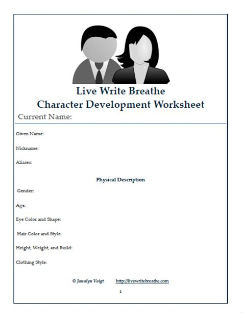 Character Building Worksheets For Writers by Character Development Worksheet Free Printable