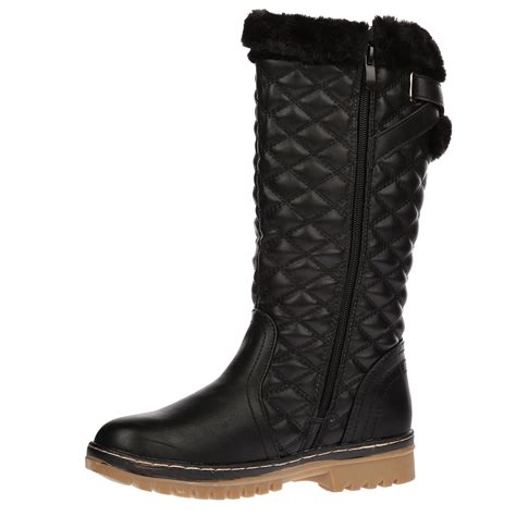 thick sole boots for womens quilted faux fur lined thick sole mid