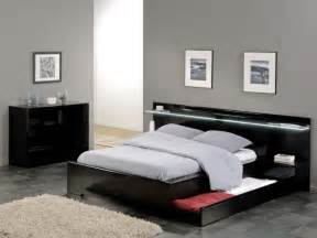 Savoy black gloss headboard light storage bed