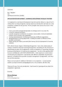 Development Specialist Cover Letter by Covering Letter Cv For Learning Development Specialist