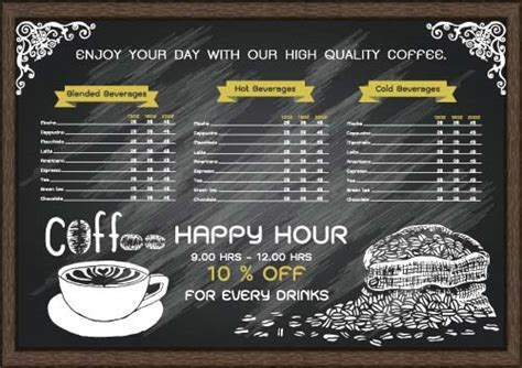 coffee price list template price list menu for cafe vector 02 vector cover free