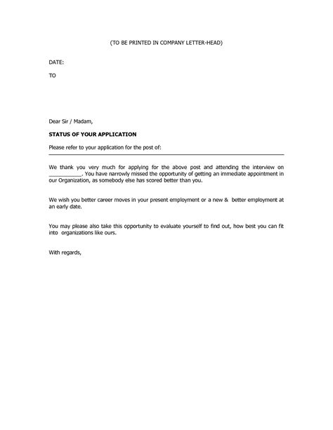 Rejection Letter Not Shortlisted Business Rejection Letter Rejection Letters Are Usually Addressed To Applicants Who Are Not
