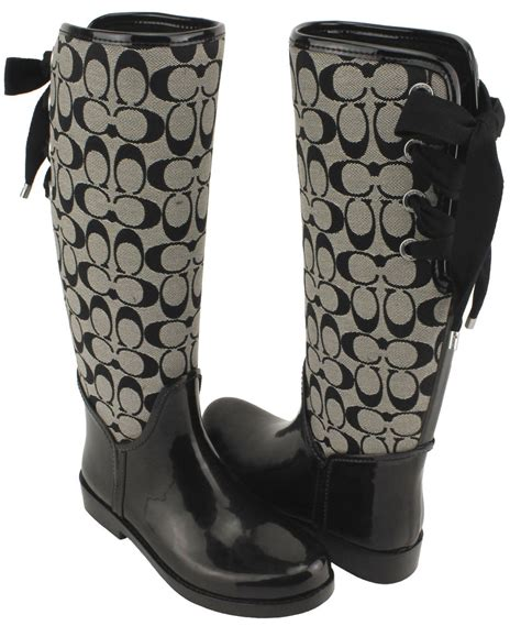 couch boots coach womens tristee signature jacquard shiny rubber rain