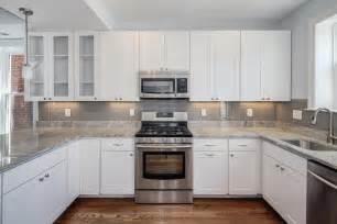 marvelous How To Measure For Kitchen Backsplash #1: White-Cabinets-Grey-Backsplash-Kitchen.jpg