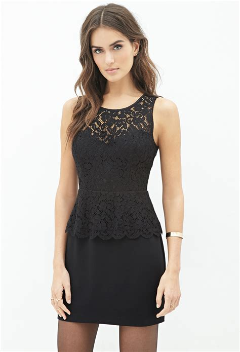 Dress Lace Peplum lyst forever 21 contemporary floral lace peplum dress in