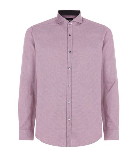 houndstooth pattern shirt mens boss mini houndstooth shirt in purple for men lyst