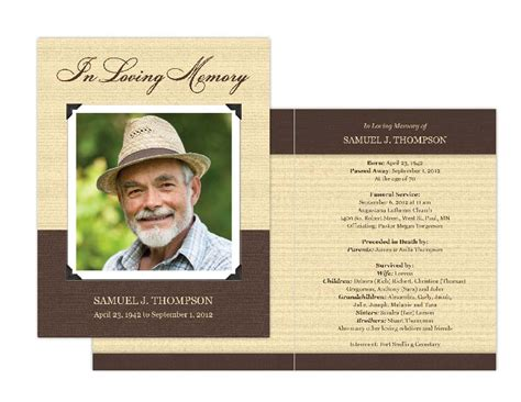 template for a memory card for a funeral memorial cards memorial programs and memorial bookmarks