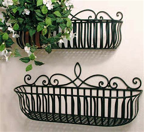 Wrought Iron Window Boxes Planters by Set Of 2 Iron Scroll Window Box Planters Black Ebay