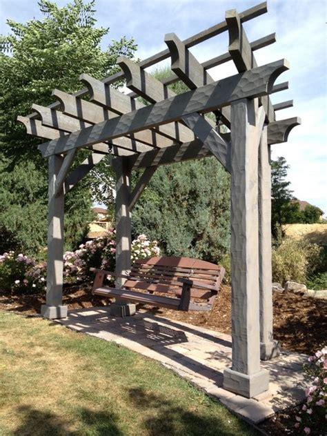 pergola porch swing textured cedar pergola with porch swing rustic