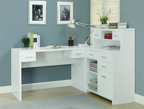 Sleek White Finished L Shaped Corner Office Desk With Sleek Office Desk