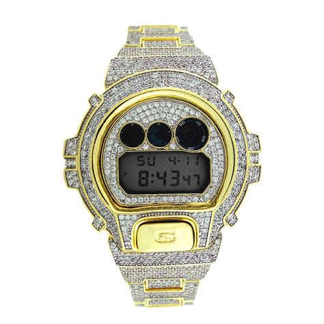 custom casio gshock dw6900 iced out 14k gold plated