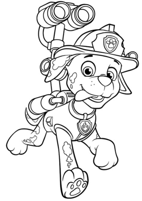 paw patrol marshall coloring page paw patrol marshall with water cannon coloring page free