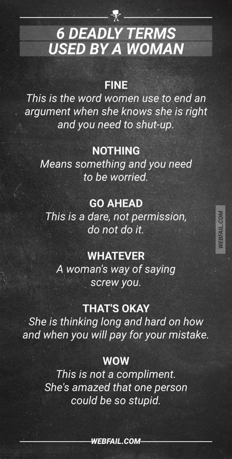 6 deadly terms used by a woman... and what they really