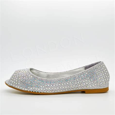 flat peep toe shoes new womens diamante ballet flats peep toe pumps