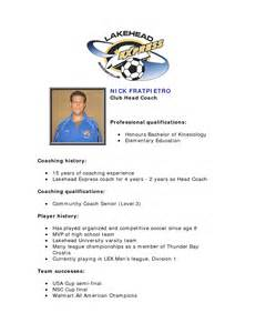 coaching profile template exle resume college student athlete ebook database