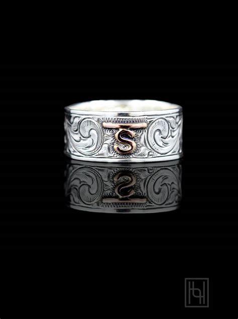 custom vintage engraved band custom rings  hyo silver