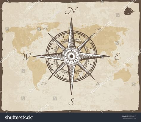 old boat compass vintage nautical compass old map vector stock vector