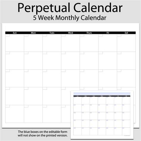 perpetual calendar template printable driverlayer search
