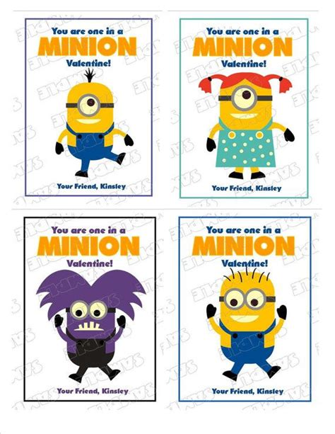 Minion Gift Card - minion kids valentine cards with envelopes by greenmelonstudios 10 00 valentines