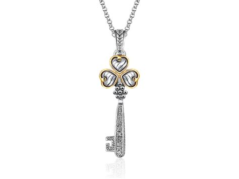 key pendant with trefoil in 14k yellow gold sterling