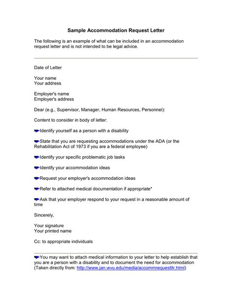 request letter to company for accommodation request for accommodation letter