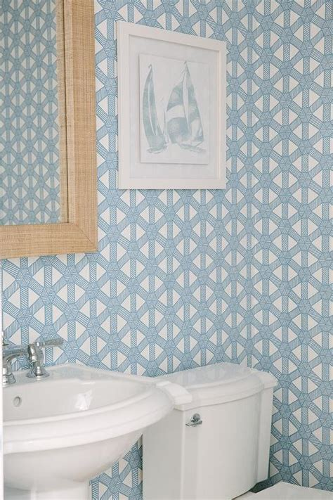 robins egg blue powder room wallpaper with grasscloth