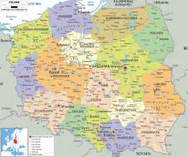 large detailed political and administrative map of poland