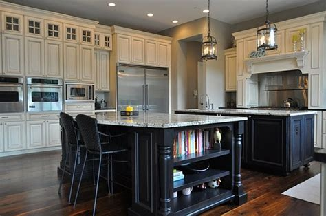 white kitchen black island black kitchen island with granite top kitchentoday