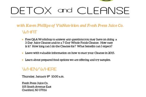 Free Detox Palm County by Free Detox Cleanse Q A Workshop At Fresh Press Juice Co