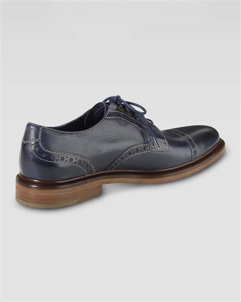 cole hann shoes cole haan air harrison captoe shoe in blue for lyst