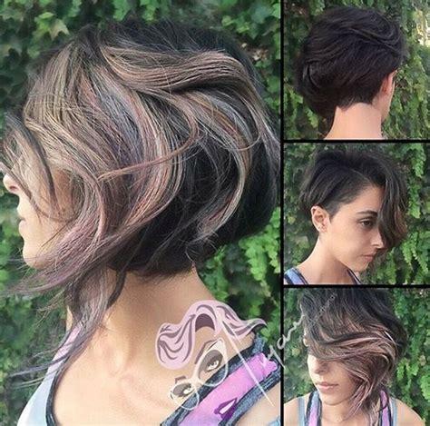 half head highlights on asymetrical bob 40 on trend balayage short hair looks
