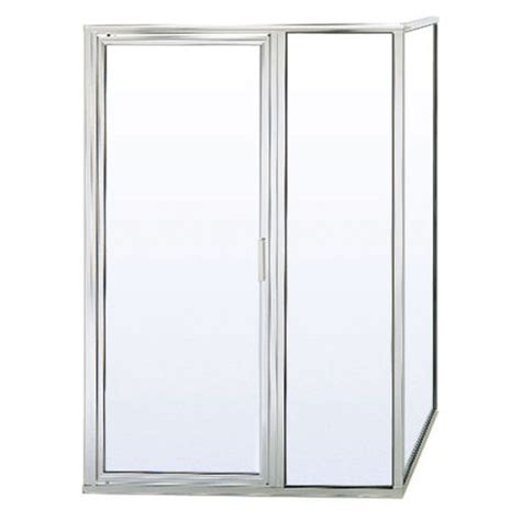 bathroom doors lowes shop basco 24 in to 36 in silver pivot shower door at