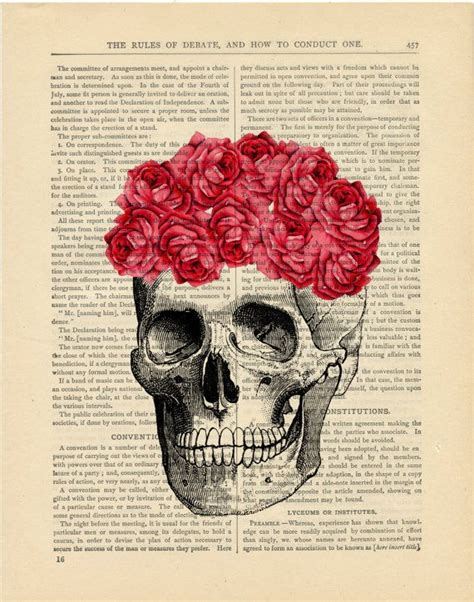 imagenes de calaveras vintage vintage skull with roses vintage image printed on a page