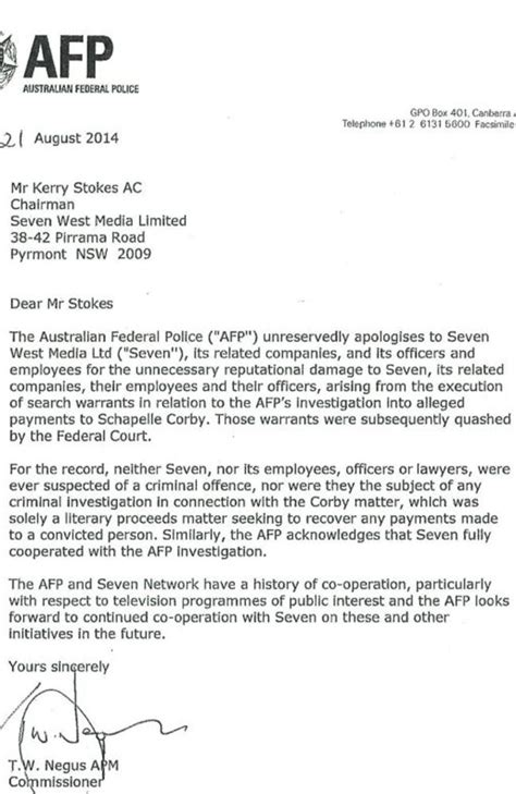 Apology Letter To Officer Australian Federal Apologise For Channel Seven Raid Alleged Schapelle Corby Payment