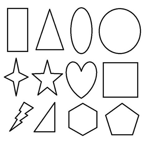 basic 2d geometric shapes coloring page netart