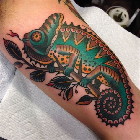 iguana tattoo traditional chameleon lizard iguana traditional