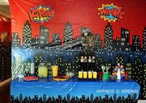 Cityscape Wall Stickers superhero movie night birthday party ideas happiness is