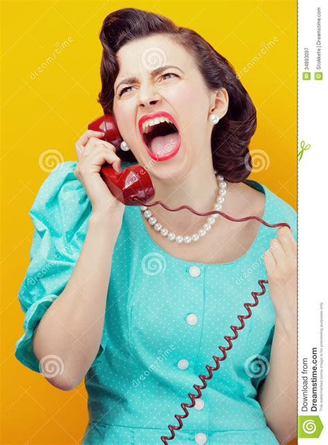 angry woman screaming   phone royalty  stock
