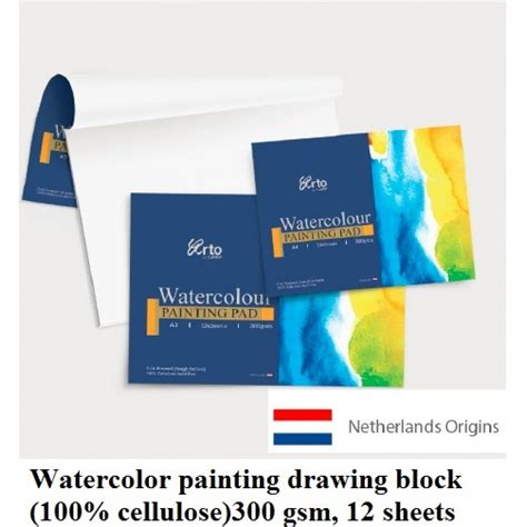 watercolor painting drawing block 300 gsm 100 cellulose a3