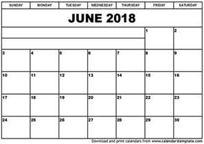 June 2018 Calendar Printable June 2018 Calendar Template