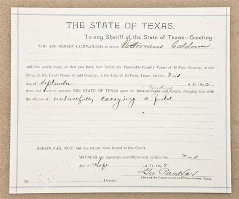 Criminal Warrant Search El Paso Tx Original State Of Arrest Warrant For El Paso County Dated September 2 1895 For
