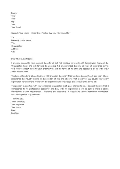 Salary Negotiation Counter Offer Letter | Templates at
