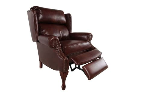 action industries recliner nailhead accented 35 quot leather recliner in pecan mathis