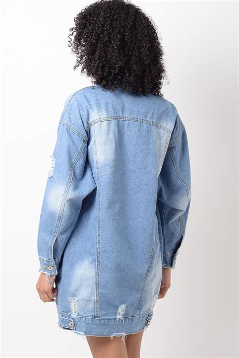 light blue distressed denim jacket stylish light blue distressed oversized denim jacket