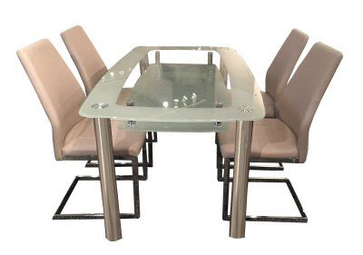 Cafe408 441408 Dining Table W Glass Top Metal Legs By New Spec Cafe408 441408 Dining Table W Glass Top Metal Legs By New Spec