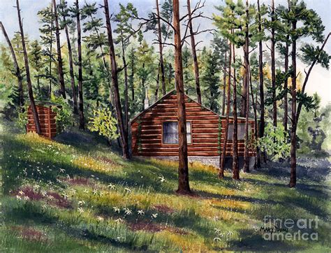 Log Cabin Paintings by The Log Cabin By Tuomi