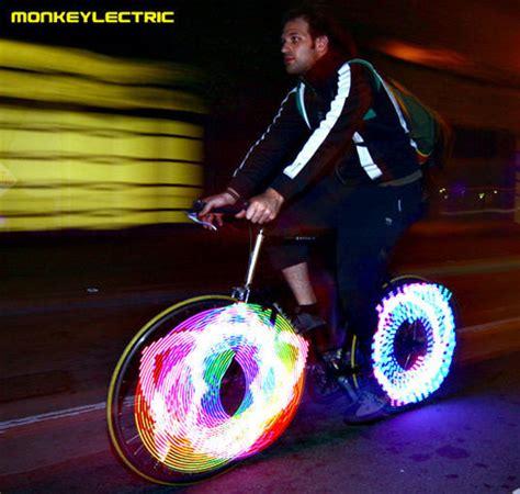 monkeylectric monkey lights make bike wheels fly through