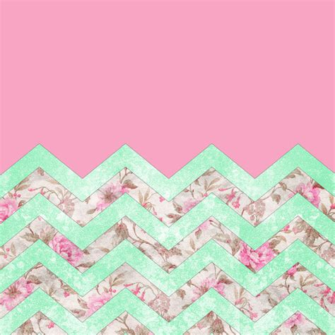 Girly Mint Wallpaper | girly mint green pink floral block chevron pattern art