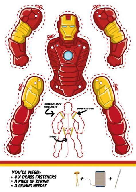 printable iron paper marionnette papier iron man et autres super h 233 ros ecole