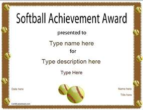 Free Softball Certificate Templates sports certificates softball certificate
